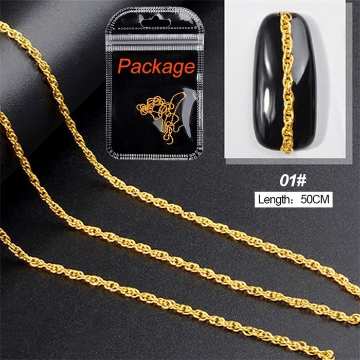 3D металлические украшения для нейл-арта, золотая металлическая цепочка, бисер, линия, много размеров, змеиная кость, сделай сам, украшение для маникюра, нейл-арта, 1 коробка - Цвет: 462541