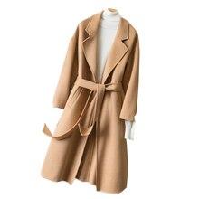Abrigos mujer invierno для женщин шерстяное пальто длинный тонкий модная куртка с поясом женский Двусторонняя манто femmeLX2559