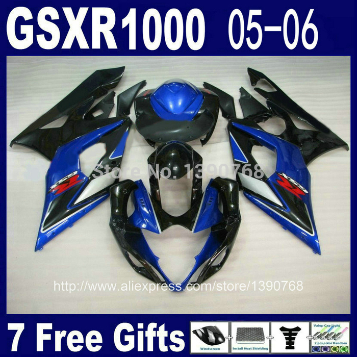 Injection mold motorcycle fairing kit for SUZUKI K5 K6 GSXR 1000 05 06 black blue ABS fairings set GSXR1000 2005 2006 DG80 custom injection molded motorcycle fairings kits for suzuki 2005 k5 black silver 2006 gsxr1000 05 gsxr 1000 06 fairing kit
