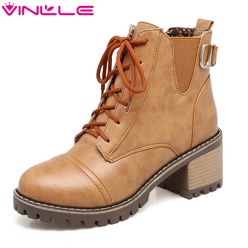 VINLLE 2018 Women Boots Shoes Ankle Boots Square High Heel Round Toe PU leather Lace Up Black Ladies Motorcycle Shoes Size 34-43 platform square heel half short real leather boots women fashion round toe zipper shoes lace up female bootie size 34 39