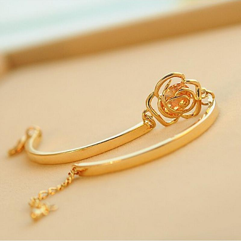 1Pcs Women Hand Hollow Out Rose Flower Crystal Bracelet Hand Chain