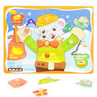 Early Educational Development Toys Wooden 3D Puzzles Dad Came Home Jigsaw Board Wood Brain Teaser Puzzle