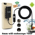 1M 8mm Wifi Wireless Endoscope for iOS Android Borescope HD 720P 2.0MP 6LED Tube IP67 Waterproof Inspection Mini Cameras