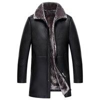 2017 Для мужчин Искусственная кожа куртка высокое качество Бизнес модные Мех пальто Теплый утолщенный пальто Для мужчин ПУ куртка плюс Разме