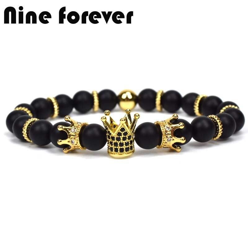 Neun für immer könig krone charme armbänder für frauen naturstein perlen armband männer schmuck pulseira masculina feminina bileklik