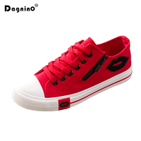 Designer Zomer Vrouwen Sneakers Lippen Casual Canvas Schoenen Wit Flats Trainers Mand Femme Rits Rood Blauw Zwart Zapatos Mujer