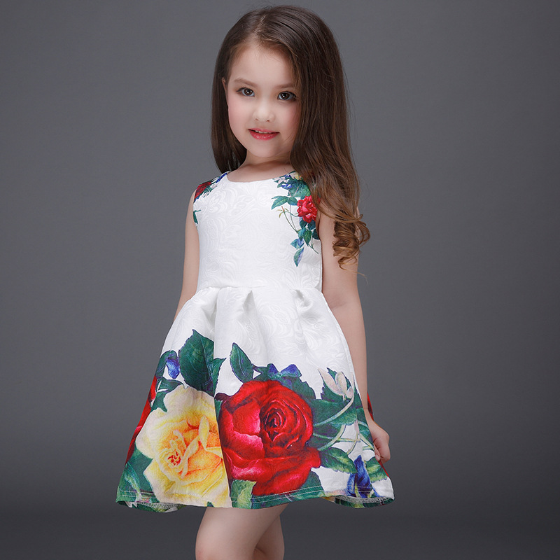 Lovely Floral Girls Unicorn Dresses Summer Sleeveless A-Line Casual Party Dress