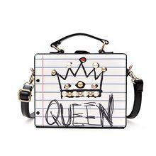Fashion letter diamonds pearl rivet box shape casual female handbag