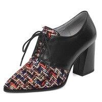 Новинка 2019 года, уникальные брендовые кожаные женские туфли, модные женские туфли на высоком каблуке с острым носком и кружевом