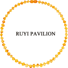 RUYI PAVILION Natural Baltic Amber Necklace Women Long Handmade Polished Baroque 45CM-50CM