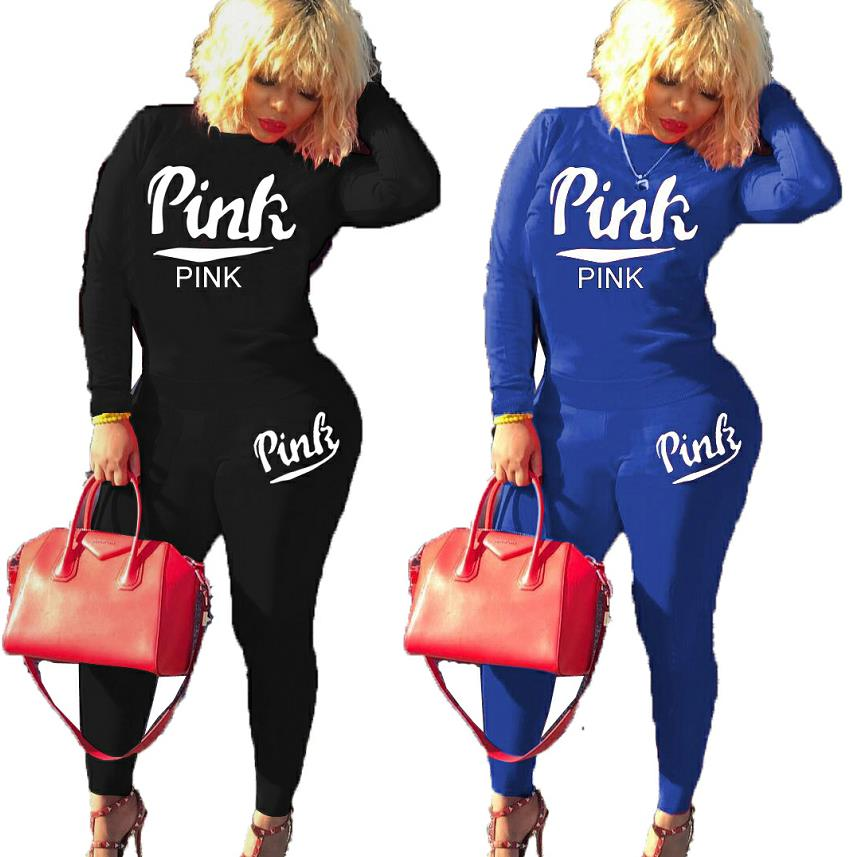 Fashion sexy women's sets casual Long sleeve letter pink Print two pieces suits casual sporty tracksuit outfits H6031