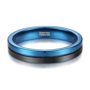 4mm Blue & Black Tungsten Ring 1