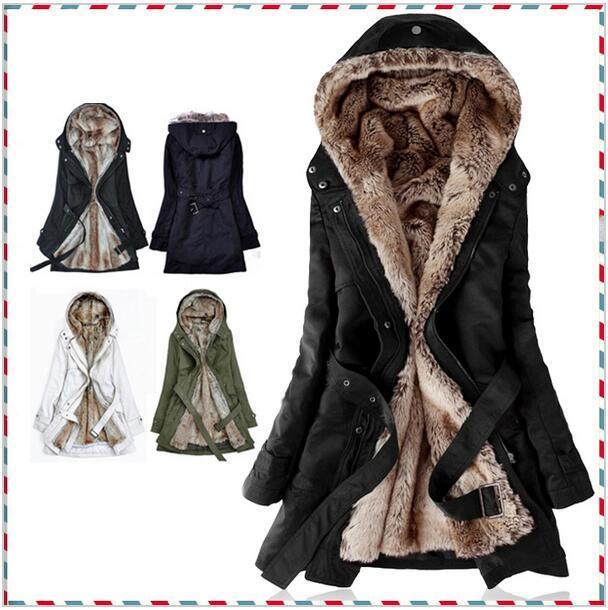 Grosso Hoodies de pele forro de pele do Falso das mulheres inverno quente longo fur dentro roupas de algodão jaqueta casaco parkas térmicas