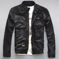 Men Winter Genuine Leather Jackets Men Coats Genuine Sheepskin Brand Black Male Motorcycle Leather Jacket