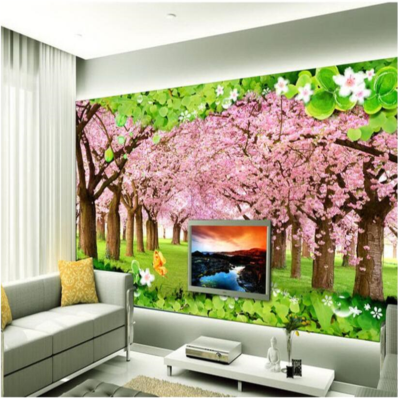 beibehang Custom 3d 3d wallpaper cherry tree cherry tree under large mural romantic cherry background wall decoration