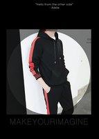 2018 новый костюм костюмы с капюшоном на весну молодежи штук полный эластичный пояс хлопок лоскутное симмонс трикотаж лидер продаж специальное предложение