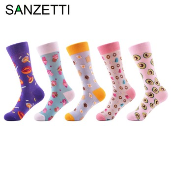 SANZETTI 5 Pair/Lot Popular Women's Doughnut Ice Cream Pattern Combed Cotton Ladies Crew Socks Fashion Colorful Funny Socks
