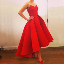купить Womens Asymmetrial Ankle-Length Strapless Red Color S to XL Wedding / Ball Party Dress в интернет-магазине
