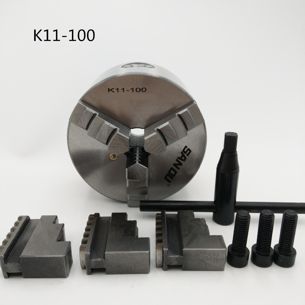 New 3 Jaw Manual Lathe Chuck 100mm 4 Self-Centering Chuck Three Jaws K11-100 Hardened Steel for Drilling Milling Machine 3 jaw 5 self centering lathe chuck k11 125 k11 125 hardened steel for drilling milling machine wrench and screws