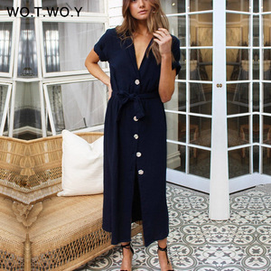 WOTWOY 2020 Sashes Summer Long Ankle-Length Dresses Women Cotton White Sexy V-Neck Straight T Shirt Dress Woman Loose Clothes