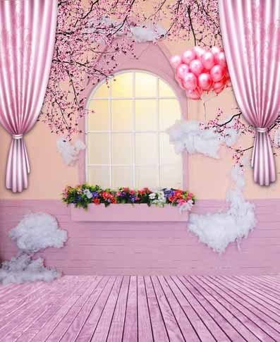 5x7ft Plum House Drape Red Balloons Arch Window Wooden