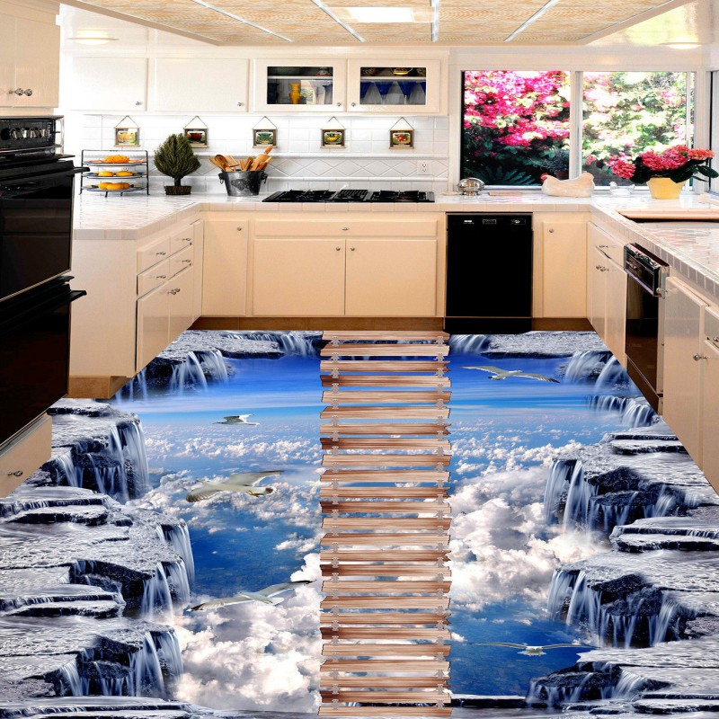 Free shipping photo Wooden walkway exhibition hall 3D floor outdoor painting living room flooring wear non-slip mural wallpaper free shipping floating suspension mountain dolphin 3d outdoor floor painting wear non slip bedroom bathroom flooring mural