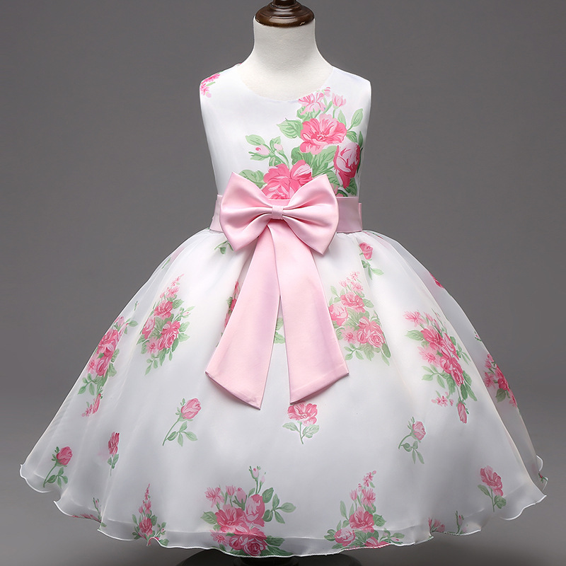 New Girl Summer Dress 2016 Floral Printed Pink Puffy Ball Gown Kids Dresse For Girl Birthday Party Clothes For Children 2-7Years 4pcs new for ball uff bes m18mg noc80b s04g