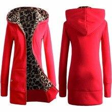 2016 зимний хлопок пальто женщин тонкий плюс размер Leopard пиджаки средней длины куртка толщиной с капюшоном пальто женщин теплая куртка z10