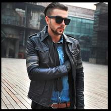 C&C Market.EMS Brand cool style men Jackets soft genuine Leather Suede jacket..Fitness,mens motorbike coat