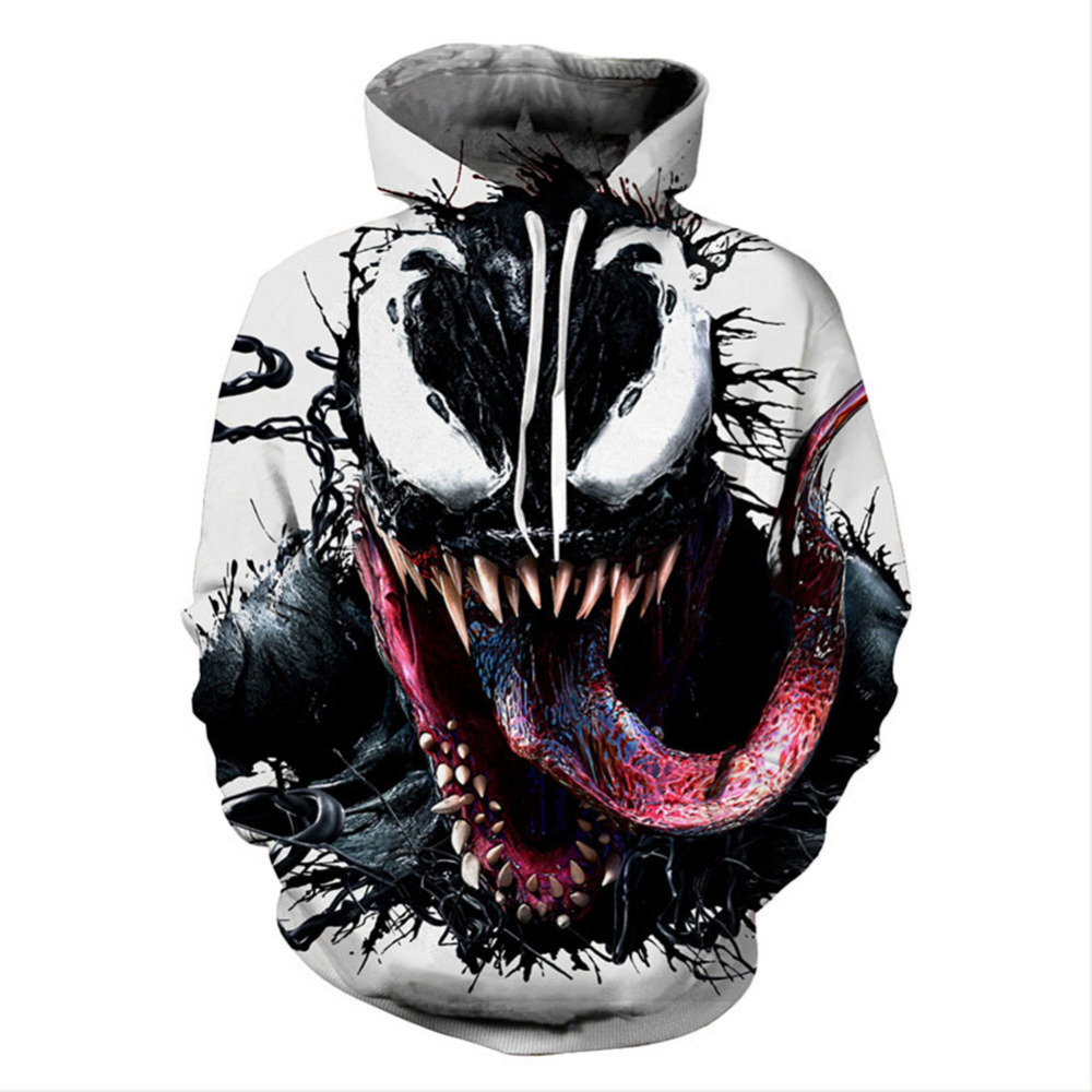 Movie Venom Hoodie Cosplay 3D Print Zipper Hoody Hoodies For Adult Men Women Sweatshirts Fashion Clothes New Arrival