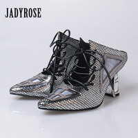 Jady Rose Gladiator Women Sandals High Heels Genuine Leather Slippers Pointed Toe Lace Up Ladies Pumps