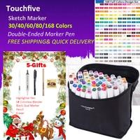 Touchfive 30 40 60 80 168 Colors Pen Markers Set Dual Head Sketch Markers Pen For
