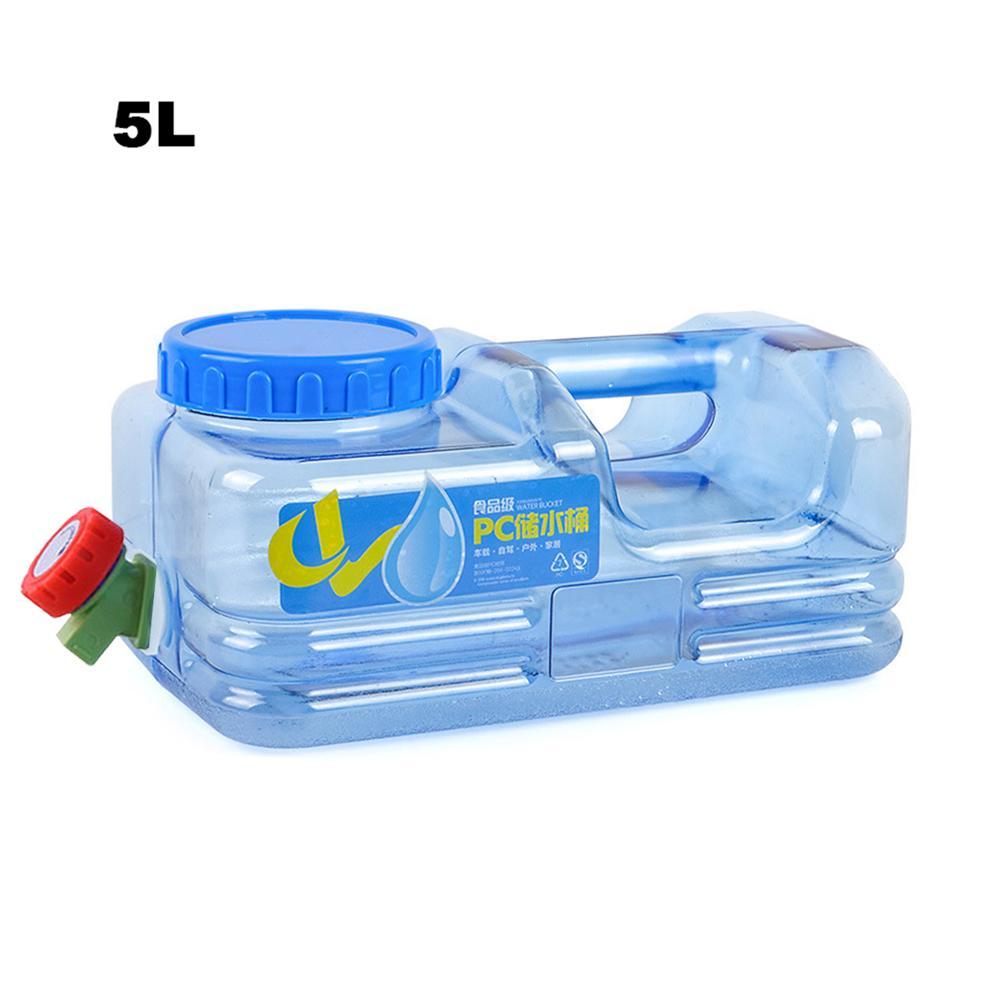 Novo 5l pc mounchain ao ar livre engrossar saco de água de plástico tanque portátil tote balde portador de água com torneira barril de água pe