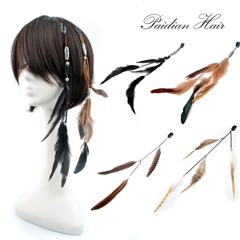 Hair Extension: Bar Party Cosplay Bohemia Natural COCK Duck  Feather Clip In Feather Hair Extension Base On Chain