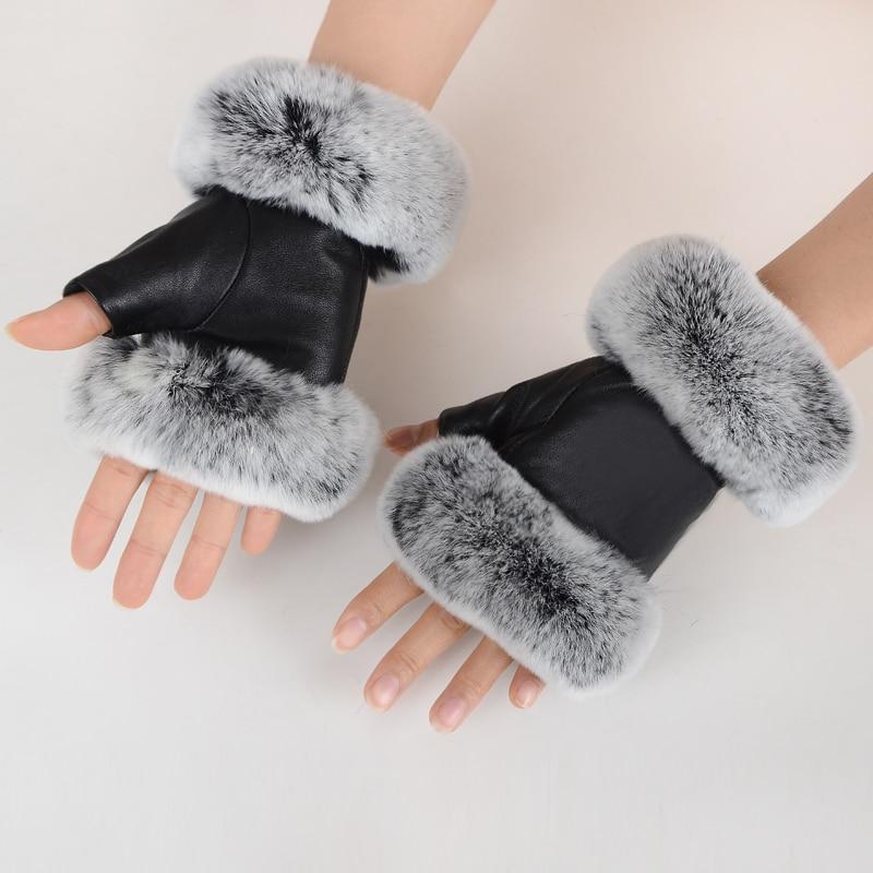 Зимние Модные черные перчатки из натуральной кожи, перчатки из овечьей кожи, кроличий мех, перчатки без пальцев, перчатки мех кролика-in Женские перчатки from Аксессуары для одежды on AliExpress - 11.11_Double 11_Singles' Day