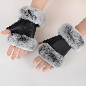 Image 1 - חורף אופנה שחור חצי אצבע כפפות עור אמיתי כבשים עור ארנב פרווה חצי אצבע ללא אצבעות כפפות ארנב פרווה פה