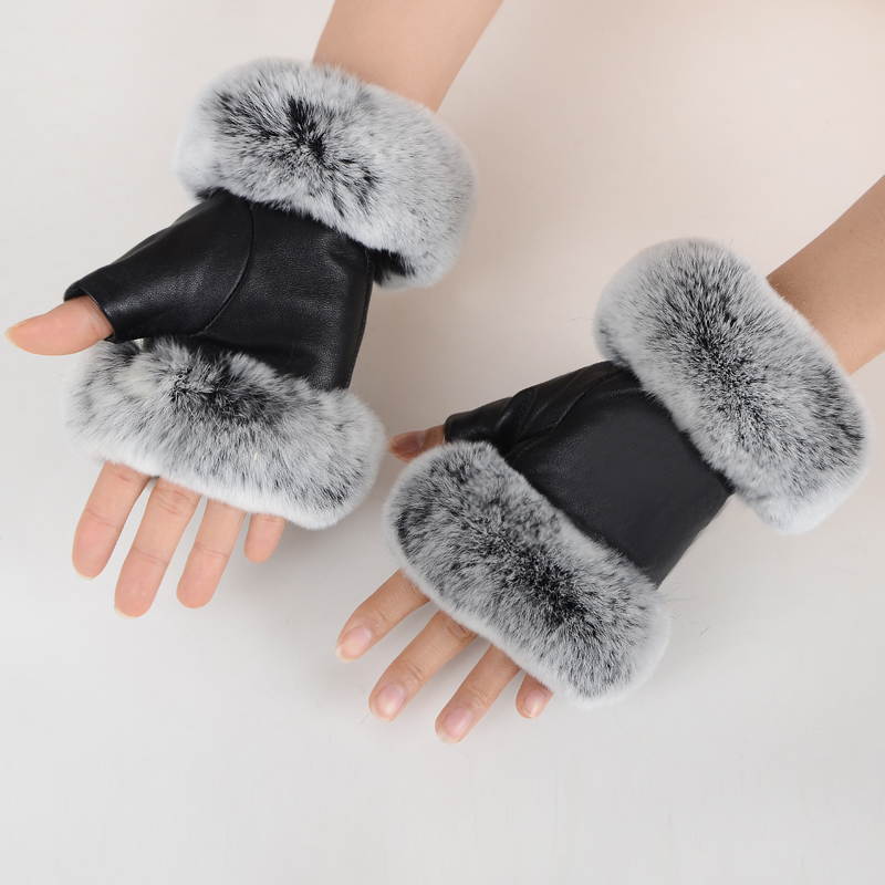 Winter Fashion Black Half Finger Genuine Leather Gloves Sheep Skin Rabbit Fur Half Finger Fingerless Gloves Rabbit Fur Mouth