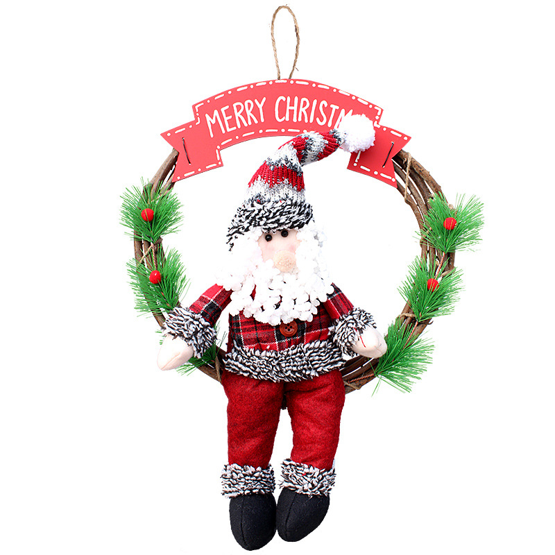 Christmas Cane Garland Wreath Santa Claus/Snow Christmas Door Hanging Decoration For Home Baby Shower Natale Craft Supplies inflatable cartoon customized advertising giant christmas inflatable santa claus for christmas outdoor decoration