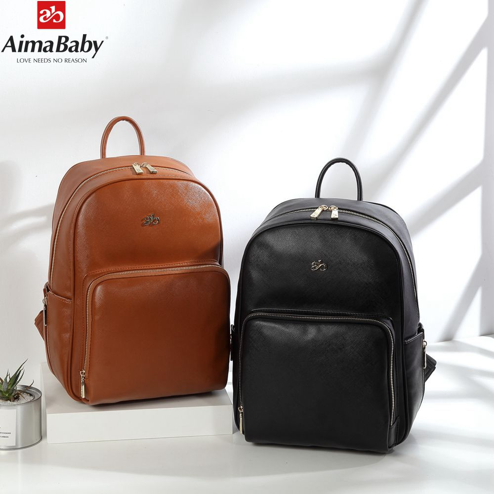 AIMABABY PU Leather Backpack baby diaper bag nappy bags Maternity mommy mummy Changing Bag wet infant