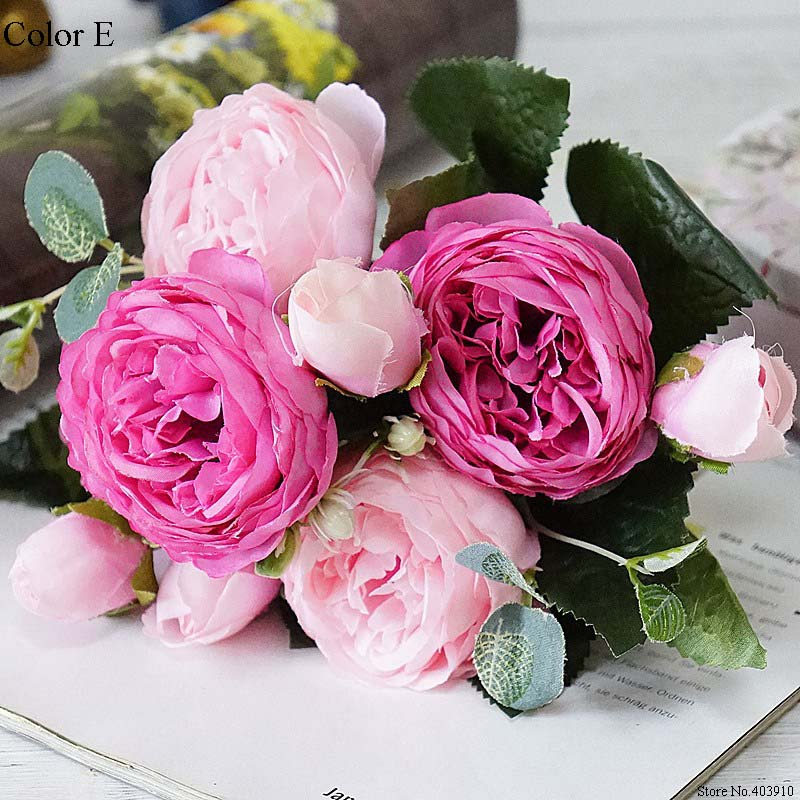 Silk Rose Peony Artificial Flowers Small Bouquet For Wedding Decoration 17