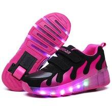 Nouveau Enfant LED Lumière chaussures d'hiver Style Garder au chaud Roues Rouleau Skate Chaussures Pour Filles Enfants Garçons Sneakers Avec Roues Rose Bleu