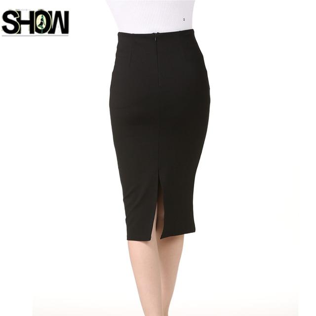 72df7217c417a3 Women's High Waist Stretchy Office Pencil Skirt Elegant Work Business Lady  Tight Slim Bodycon Black White Back Split Skirt 6008