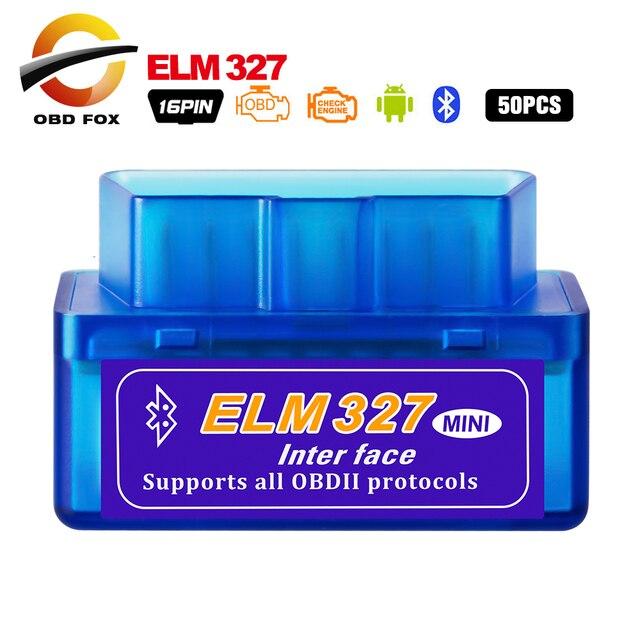 50ピース/ロットスーパーミニelm 327 V2.1 OBD2スキャナbluetooth ELM327 V1.5 wifi車診断ケーブルワークスdhl送料