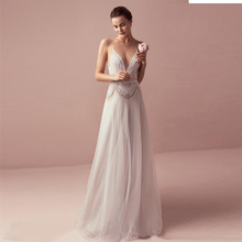 Verngo Backless Wedding Dress Tulle Beading Wedding Gowns V-neck Bride Dress Vestidos De Novia 2019 Vestidos De Festa
