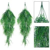2 pçs artificial pendurado planta simulado folhas falso hera falso pendurado plantas para decoração do casamento sala de estar ornamentos videira rattan|Plantas artificiais| |  -