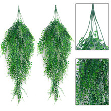 2Pcs Artificial Hanging Plant Simulated Leaves Fake Ivy Fake Hanging Plants For Wedding Decor Living Room Ornaments Vine Rattan