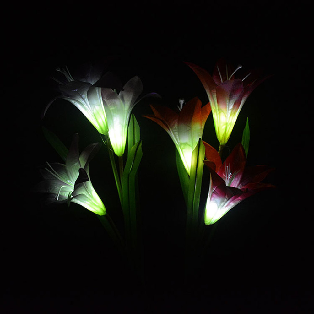 2pcs Tuinverlic Solar Powered LED Color Changing Lily Flowers Garden Light Decorations Waterproof Yard Patio Stake Lawn Lamp#20