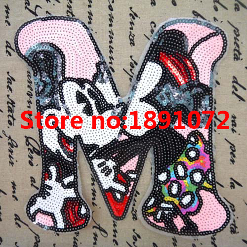2pcs size 2325cm sew on sequin patch diy sequin alphabet applique letter motif