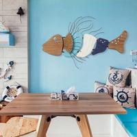 Fish Wall Ornaments Wooden Wall Mural Cartoon Decorative Creative Model Wall Hanging Decoration Deep Sea Fish Wall Ornaments