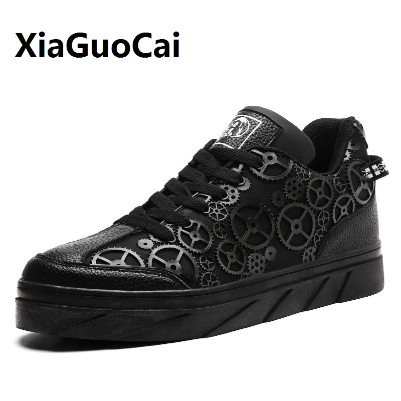 New Spring Autumn Man Casual Shoes Leather Lace Up High Top Gear Korean Fashion Flat Shoes Classic Sneakers Zapatos Hombre casual dancing sneakers hip hop shoes high top casual shoes men patent leather flat shoes zapatillas deportivas hombre 61